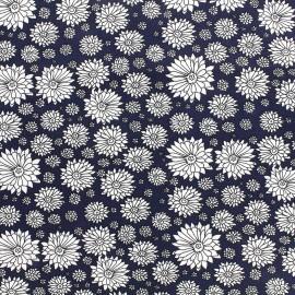 Poplin cotton fabric Pretty flower - navy x 10cm