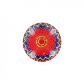 Bouton polyester et verre Rosace d'orient - rouge