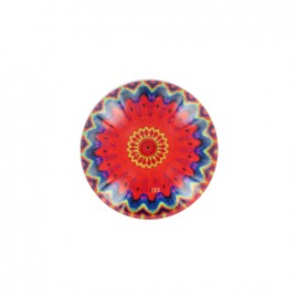 Rosace d'orient polyester and glass button - red