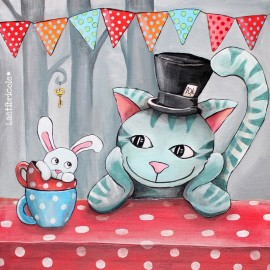 ♥ Coupon  46 cm X 46 cm ♥ velours ras Oeko-tex Laëtibricole - Le chat d'Alice