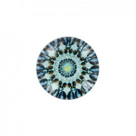 Bouton polyester et verre Rosace d'orient - bleu ciel