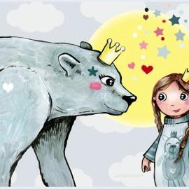 ♥ Coupon de tissu 47 cm X 31 cm ♥ velours ras Laëtibricole - Ours polaire et fillette