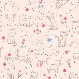 Cotton fabric  Whiskers & Tails - Cats and Flowers Pink  x 10cm