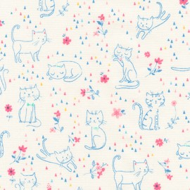 Cotton fabric  Whiskers & Tails - Cats and Flowers Pastel x 10cm
