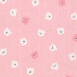 Cotton fabric  Sevenberry Comfy Double Gauze - Pink Bears x 10cm