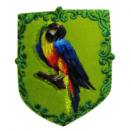 Coat-of-arms Parrot iron-on applique - green