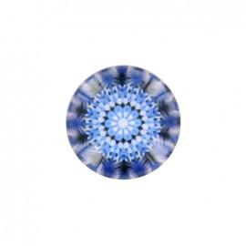 Bouton polyester et verre Rosace d'orient - bleu foncé