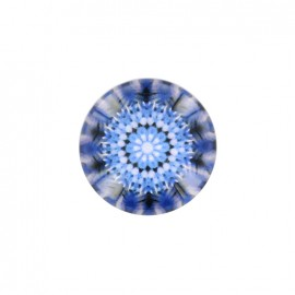 Rosace d'orient polyester and glass button - dark blue