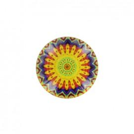 Bouton polyester et verre Rosace d'orient - jaune
