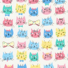 Cotton fabric  Whiskers & Tails - Cats and Bow Ties Pastel  x 10cm