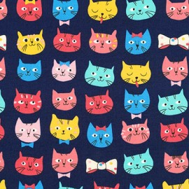 Cotton fabric  Whiskers & Tails - Cats and Bow Ties Navy x 10cm