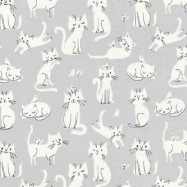 Cotton fabric  Whiskers & Tails - White Cats Grey x 20cm