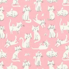 Tissu coton Whiskers & Tails - Chats Blanc Pink  x 20cm