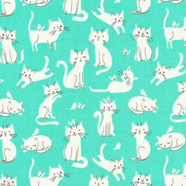 Cotton fabric  Whiskers & Tails - White Cats Mint x 20cm