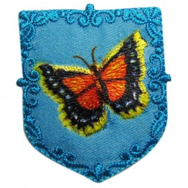 Coat-of-arms Butterfly iron-on applique - blue