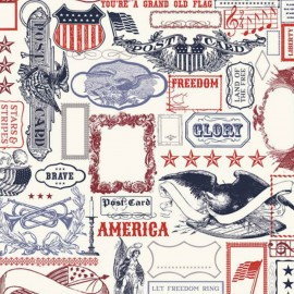 Tissu coton Lost and found America - Blanc x 30cm
