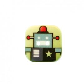 Bouton polyester Nono le robot - vert