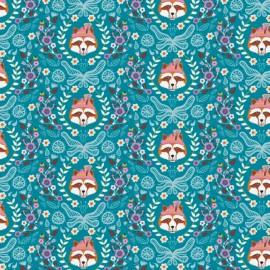 Cotton Fabric Vienna by Jolijou - Teal x 20cm