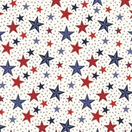 Cotton Fabric Americana Stars - Cream  x 10cm