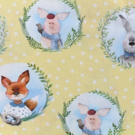 Tissu popeline souple Easter friends - jaune x 21cm