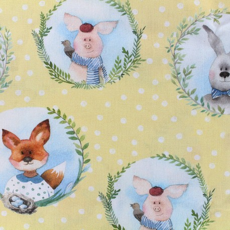 Poplin Fabric Easter friends - yellow x 21cm
