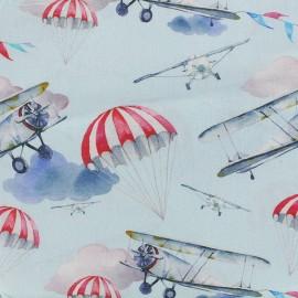 Tissu popeline souple Airplane - ciel x 16cm