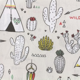 Cotton fabric Chewonki - sand/green x 31cm
