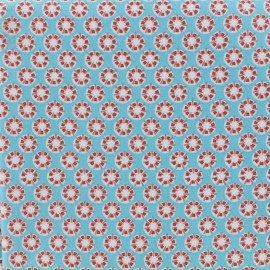 Tissu enduit coton Sotang - turquoise/rouge x 10cm