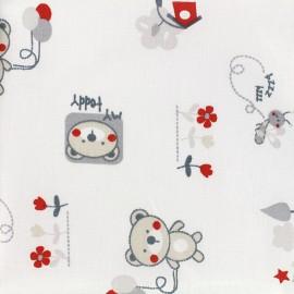 Tissu coton Bouba - rouge/gris x 31cm