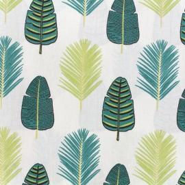 Cotton fabric Palmade - ecru/green x 15cm
