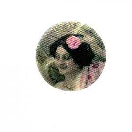 Fillette retro fabric button - pink