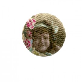 Fillette retro fabric button - pink/blue