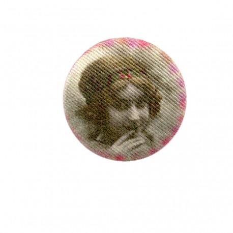 Fillette retro fabric button - pinky