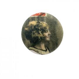 Fillette retro fabric button - red