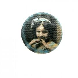 Fillette retro fabric button - blue