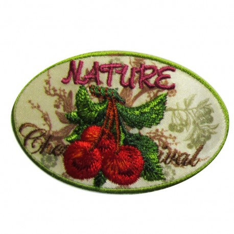 Nature and Cherry iron-on applique - multicolored