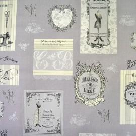 Bachette cotton fabric Couture - grey/white x 64cm