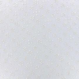 Tissu tulle floqué haute qualité paillettes Fleurs - ivoire x 10cm