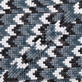Iron on ribbon Chevron mosaïque - black x 40cm