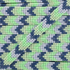 Iron on ribbon Chevron mosaïque - green x 40cm