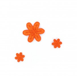 Thermocollant Brodé Fleurs (x3) - orange