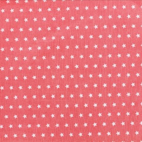 Tissu coton popeline Color Etoiles - Corail x 10cm