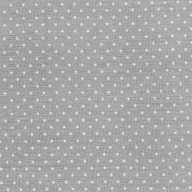 Tissu coton popeline Color Pois - Gris clair x 10cm
