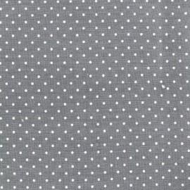 Tissu coton popeline Color Pois - Gris x 10cm