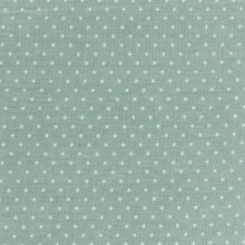 Tissu coton popeline Color Pois - Vert Sauge x 10cm
