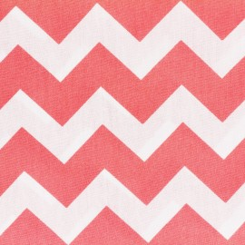 Cotton poplin fabric Color Chevrons - Coral x 10cm