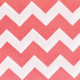 Tissu coton popeline Color Chevrons - Corail x 10cm