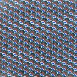 Coated cotton fabric Plume - azure x 10cm