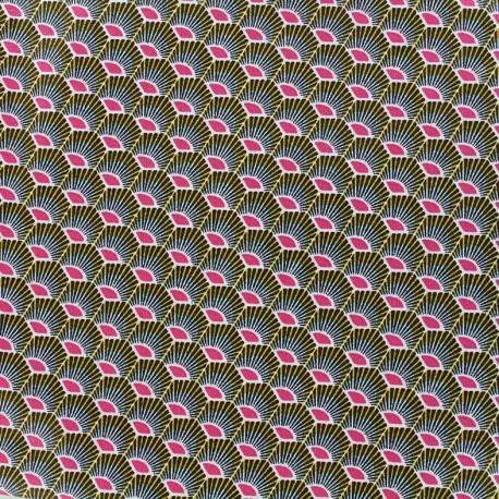 Coated cotton fabric Plume - fuchsia x 10cm