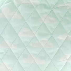Tissu matelassé Color Nuages - Vert d'eau  x 10cm